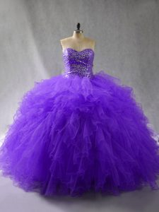 Floor Length Lace Up Quince Ball Gowns Purple for Sweet 16 and Quinceanera with Beading and Ruffles