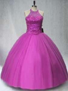 Floor Length Lilac 15th Birthday Dress Tulle Sleeveless Beading