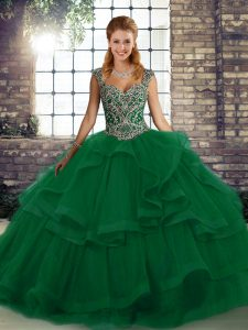 Green Tulle Lace Up Quinceanera Dress Sleeveless Floor Length Beading and Ruffles