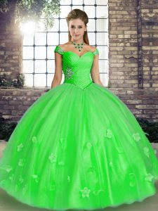 Green Sleeveless Tulle Lace Up Quince Ball Gowns for Military Ball and Sweet 16 and Quinceanera