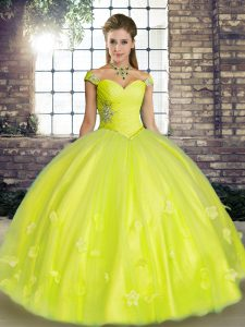 Dramatic Yellow Green Off The Shoulder Lace Up Beading and Appliques Quinceanera Dresses Sleeveless