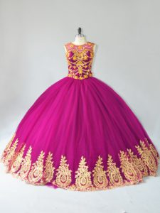 Classical Fuchsia Ball Gowns Tulle Scoop Sleeveless Beading and Appliques Floor Length Lace Up 15 Quinceanera Dress