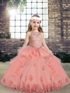 Watermelon Red Sleeveless Tulle Lace Up Pageant Dress for Teens for Party and Wedding Party