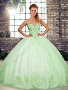 Sophisticated Apple Green Ball Gowns Sweetheart Sleeveless Tulle Floor Length Lace Up Beading and Embroidery Ball Gown Prom Dress