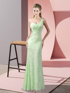 Sleeveless Lace Floor Length Criss Cross Prom Party Dress in with Beading and Lace