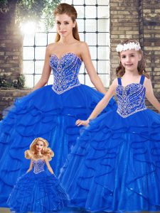 Sleeveless Tulle Floor Length Lace Up Quinceanera Gown in Royal Blue with Beading and Ruffles
