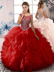 Unique Red Ball Gowns Organza Scoop Sleeveless Beading and Ruffles Floor Length Zipper Sweet 16 Dress