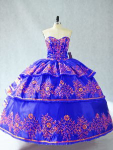 Blue Lace Up 15th Birthday Dress Embroidery and Ruffles Sleeveless Floor Length