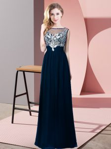 Modest Navy Blue Empire Chiffon Scoop Sleeveless Beading Floor Length Backless Prom Evening Gown