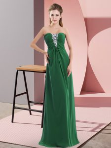 Sleeveless Zipper Floor Length Beading Evening Dress