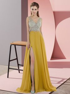 Luxurious V-neck Sleeveless Prom Gown Sweep Train Beading Gold Chiffon
