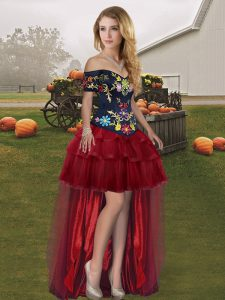 Wine Red Prom Dress Prom and Party with Embroidery and Ruffled Layers Off The Shoulder Sleeveless Lace Up