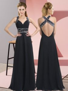 Black Empire Chiffon Straps Sleeveless Beading Floor Length Backless Pageant Dress for Teens