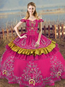 Noble Fuchsia Sleeveless Organza Lace Up Sweet 16 Dresses for Sweet 16 and Quinceanera