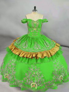 Floor Length Lace Up Sweet 16 Dresses Green for Sweet 16 and Quinceanera with Embroidery