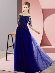 Blue Half Sleeves Chiffon Lace Up Bridesmaid Dress for Wedding Party