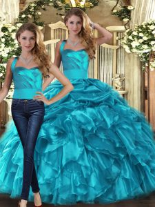 Teal Halter Top Lace Up Ruffles and Pick Ups 15 Quinceanera Dress Sleeveless