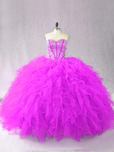 Romantic Sweetheart Sleeveless Lace Up Vestidos de Quinceanera Purple Tulle