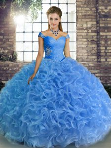 Ball Gowns Quinceanera Gowns Baby Blue Off The Shoulder Fabric With Rolling Flowers Sleeveless Floor Length Lace Up