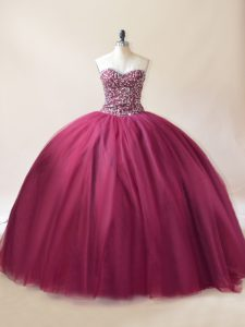 Exceptional Sweetheart Sleeveless Lace Up Quinceanera Gowns Burgundy Tulle
