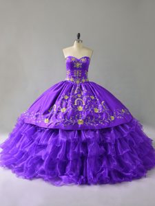 Glamorous Purple Ball Gowns Organza Sweetheart Sleeveless Embroidery and Ruffles Floor Length Lace Up Quinceanera Gowns