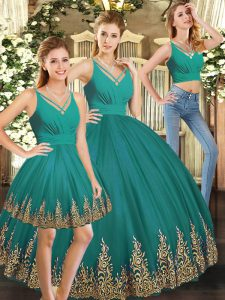 Turquoise Tulle Backless V-neck Sleeveless Floor Length Ball Gown Prom Dress Embroidery