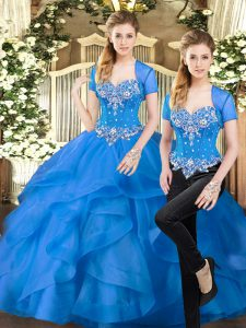 Blue Tulle Lace Up Sweet 16 Quinceanera Dress Sleeveless Floor Length Beading and Ruffles