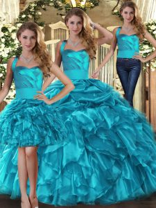 Teal Organza Lace Up 15th Birthday Dress Sleeveless Floor Length Ruffles and Pick Ups