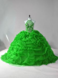 Custom Designed Green Quinceanera Gown Sweet 16 and Quinceanera with Beading and Pick Ups Halter Top Sleeveless Court Train Lace Up