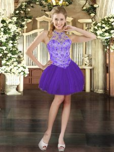 Cute Purple Cocktail Dresses Prom and Party with Beading Halter Top Sleeveless Lace Up