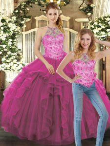 Beauteous Fuchsia Sweet 16 Quinceanera Dress Military Ball and Sweet 16 and Quinceanera with Beading and Ruffles Halter Top Sleeveless Lace Up