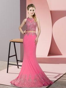 Rose Pink Mermaid High-neck Sleeveless Satin Sweep Train Zipper Beading and Appliques Dress for Prom