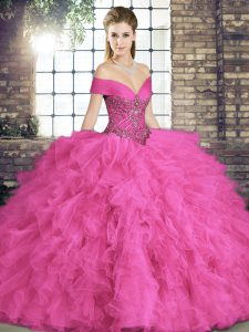 Discount Floor Length Hot Pink Sweet 16 Dresses Tulle Sleeveless Beading and Ruffles