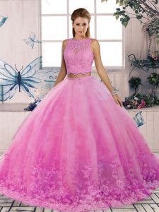 Ideal Rose Pink Sleeveless Lace Backless Quinceanera Gown