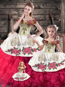 Pink And White Off The Shoulder Neckline Embroidery and Ruffles Sweet 16 Quinceanera Dress Sleeveless Lace Up