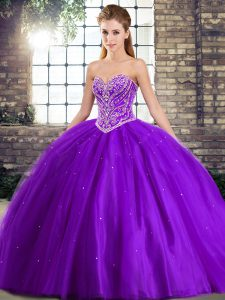 Fantastic Purple Ball Gown Prom Dress Military Ball and Sweet 16 and Quinceanera with Beading Sweetheart Sleeveless Brush Train Lace Up