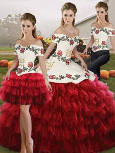 Chic Floor Length Three Pieces Sleeveless Wine Red Quinceanera Dresses Lace Up