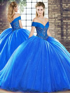 Royal Blue Off The Shoulder Lace Up Beading Sweet 16 Dresses Brush Train Sleeveless