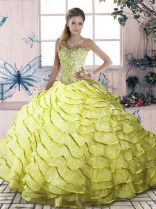 Fabulous Lace Up Sweet 16 Quinceanera Dress Yellow Green for Sweet 16 and Quinceanera with Beading and Ruffled Layers Brush Train