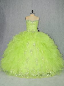 Enchanting Floor Length Lace Up 15th Birthday Dress Yellow Green for Sweet 16 and Quinceanera with Beading and Ruffles