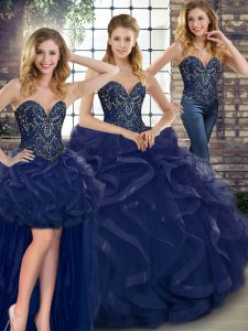 Tulle Sweetheart Sleeveless Lace Up Beading and Ruffles Quinceanera Dresses in Navy Blue