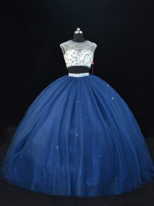 Best Selling Navy Blue Lace Up Scoop Beading 15th Birthday Dress Tulle Sleeveless