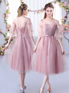 Popular Tea Length Pink Dama Dress for Quinceanera V-neck Sleeveless Lace Up