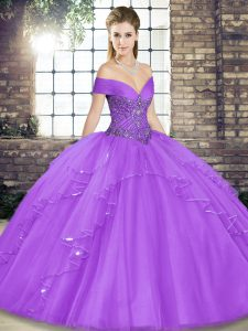 Classical Sleeveless Lace Up Floor Length Beading and Ruffles Quinceanera Dresses