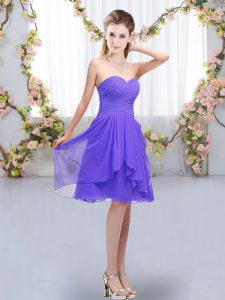 Fancy Knee Length Lavender Quinceanera Court Dresses Sweetheart Sleeveless Lace Up