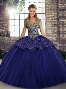 Floor Length Lace Up 15th Birthday Dress Purple for Military Ball and Sweet 16 and Quinceanera with Beading and Appliques
