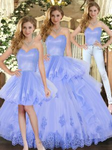 Lovely Sleeveless Floor Length Appliques and Ruffles Lace Up Sweet 16 Dresses with Lavender