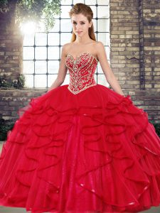 Red Quinceanera Dresses Military Ball and Sweet 16 and Quinceanera with Beading and Ruffles Sweetheart Sleeveless Lace Up