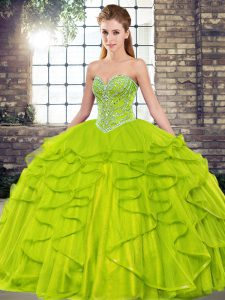 Olive Green Sleeveless Floor Length Beading and Ruffles Lace Up Ball Gown Prom Dress