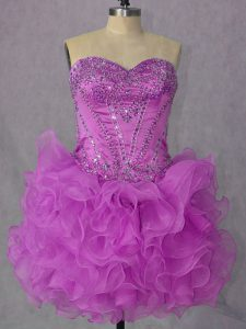 Attractive Lilac Sweetheart Neckline Beading and Ruffles Sleeveless Lace Up